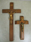 2 Large Wood And Metal Crucifixes - 20x10 And 12x7.5 - Jesus On Cross, Inri