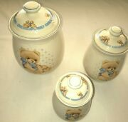 Tienshan Stoneware Country Teddy Bear Canister Cookie Jars Lid Lot Of 3 Kitchen