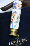Antique Victorian 3 Desk Stamp Wax Seal Staffordshire Hand Painted Uk Pottery