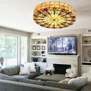Stained Glass Chandelier Flush Mount Ceiling Lighting Lamps 3 Patterns