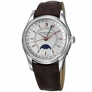 Frederique Constant Menand039s And039indexand039 Silver Dial Brown Strap Black