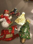 Vintage Lot Of 1960andrsquos Hallmark Die-cut Christmas Card And Package Decorations