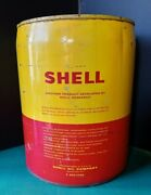 Vintage Shell Oil Can 5 Gallon Two Cap Lids With Metal Handle - Empty