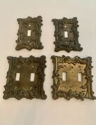 Vintage Lot Of 4 Double And Single Light Switch Wall Plate Covers Ornate Metal