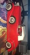 Bandai 1933 Cadillac Red Tin Litho Friction Toy Made In Japan