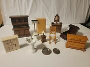 Vintage Wooden Doll House Furniture 12 Pc Lot