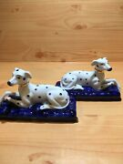 Antique Pair Of English Porcelain Staffordshire Dalmatian Dogscobalt Base5andrdquox3andrdquo