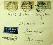 India 1933 Calcutta Gpo From Gv A/m 3v Lionel Ed Signed Cover To Germany