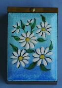 Mid Century Enamel On Metal Cigarette Box With Daisies Design Limoges Limited