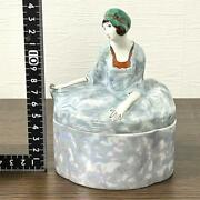 Old Noritake Deco Lady Trinket Box With Lid Accessary Case Figurine Vintage