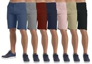 New Menand039s Shorts Stretch Chino Casual Flat Front Spandex Slim Fit Half Pant