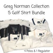 Lot Of 4 Men's Preowned Greg Norman Polo Golf Shirts Size Large/xl, 1 Regulator