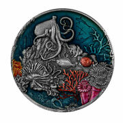 2021 Niue 5 Coral Reef Antiqued Colorized 2 Oz .999 Silver Coin - 500 Made