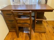 Ranch Oak Desk With Drawers And Chair Set