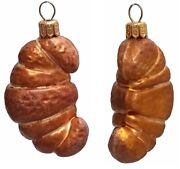 Croissant Pastry Polish Blown Glass Christmas Ornament Set Of 2 Decorations