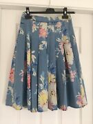 Bnwt Joules Vivien Woven Chambray Whitstable Cotton Floral Full Skirt Size 6