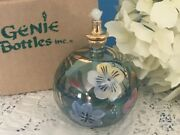 New Delicate Oil Lamp Mouth Blown Glass 24k Gold Egyptian Nib Floral Flowers Nos