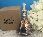 New Cone Iridescent Blue Oil Lamp Mouth Blown Glass 24k Gold Egyptian Nib Nos