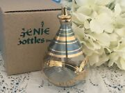 New Delicate Etched Blue Oil Lamp Mouth Blown Glass 24k Gold Egyptian Nib Nos A+