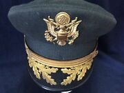 Wwii Us Army Green Dress Majior Visor Hat Id D.h Smith 4th Armored Div.