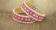 Latest Collection Pink Colored Gold Plated Classic Designer Bridal Gift Bangles