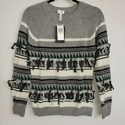Nwt The Lane Wool Cashmere Blend Fringe Sweater Seen In Nashville Tv Show Gray S