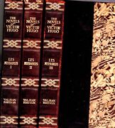 1890s Leather Les Miserables Victor Hugo 3 Volumes Illustrated Classic Complete