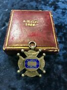 1898 Great Britain Cycling Bicycle Vintage Sterling Silver Fob Badge Medal
