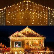 Dopheuor Icicle Fairy Lights 400led 32.8ft 75drops 8 Modes Waterproof String ...