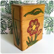Mid Century Vintage 60andrsquos 70andrsquos Reeves England Floral Wooden Storage Box Crayons