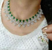 Indian Bollywood Ad Emerald Imitation Necklace Earrings Lady Love Gift Jewelry