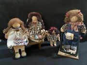 Lot Of 3 Lizzie High Wooden Dolls Gretchen High Marie Valentine And Jenny