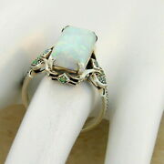 3ct Emerald Cut Opal Antique Victorian Engagement Ring 14k White Gold Finish