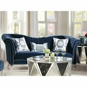 Vintage Style Velvet And Acrylic Sofa With 3 Pillows Blue Blue Vintage