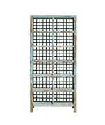 Chinese Distressed Blue Lacquer Display Bookcase Cabinet Cs4059