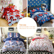 Bed Sheet Set Comforter Cover Bedclothes 2 Pillowcase Merry Christmas Gift Q1j0