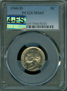 1960-d Jefferson Nickel Pcgs Ms65 4-fs Very Mac Finest And Spotless 10000 In Fs.