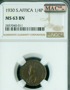 1930 South Africa Farthing Ngc Ms63 Br Mac Very Rare Only 6,500 Minted