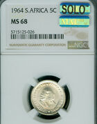 1964 South Africa 5 Silver Cents Ngc Ms-68 Solo Finest Grade Mac Spotless