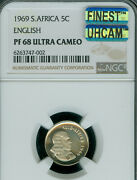 1969 South Africa 5 Cents English Ngc Pf68 Mac Finest Uhcam Spotless 95 Minted