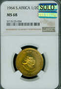 1964 South Africa Half Cent Cents Ngc Ms-68 Solo Finest Grade Mac Spotless
