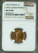 1965 Type-1 Sm Bd Pt-5 Canada Cent Ngc Mac Ms65 Rd Pq 2nd Finest 4 Coins Known
