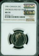 1981 Canada 25 Cents Ngc Ms-70 Mac Solo Finest Grade Rare Spotless