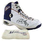 Jazz Karl Malone Authentic Signed Game Used Converse All Star Shoe Bas Aa03718