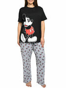 Womens Plus Size Disney Mickey Mouse Leaning T-shirt And Pajama Pants Lounge Wear
