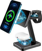 Iphone 12 Charging Station Stand Dock 18w Fast Magnetic Wireless Charger 3 In