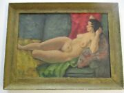 Antique Brown Nude Woman Pretty Female Model Modernist Expressionism Signed