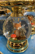Bath And Body Works Fox Squirrel Water Globe 3 Wick Pedestal Candle Holder New