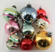 Vintage Lot Of Glass Shiny Brite Christmas Ornaments Double Indent Incl.