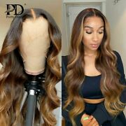 Highlight Body Wave Lace Frontal Human Hair Wig For Black Woman Ombre T Part Wig